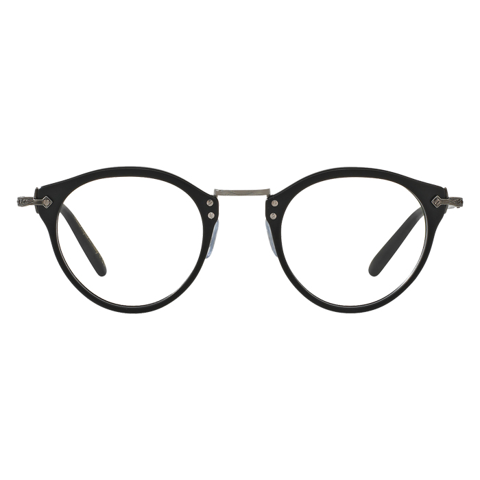 Oliver Peoples OP-505 Semi-matte Black/antique Pewter - Clear Lens Eyeglasses Specs Appeal Optical Miami