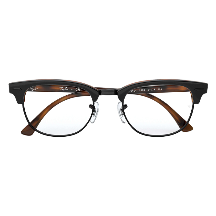 Rayban CLUBMASTER Tortoise/cream - Clear Lens Eyeglasses Specs Appeal Optical Miami