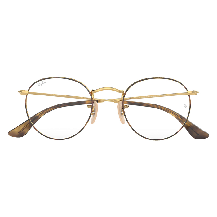 Rayban ROUND METAL Tortoise Gold - Clear Lens Eyeglasses Specs Appeal Miami