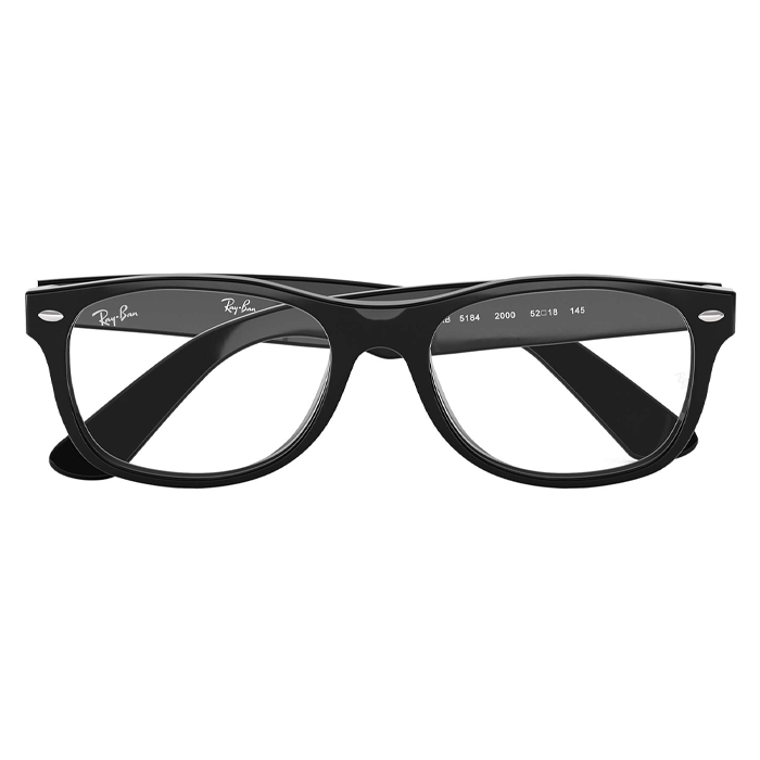 Rayban RX5184 Shiny Black - Clear Lens Eyeglasses Specs Appeal Optical Miami