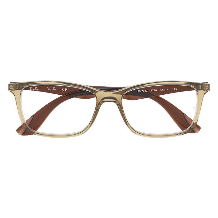 Rayban RX7047 Light Brown, Brown - Clear Lens Eyeglasses Specs Appeal Optical Miami