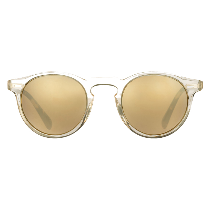 Oliver Peoples Gregory Peck Buff DTB Gold Mirror 47 Specs Appeal Optical Miami Sunglasses