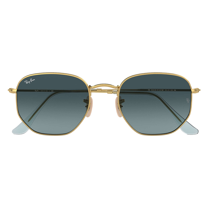 Rayban HEXAGONAL FLAT LENSES Gold - Blue Gradient Sunglasses Specs Appeal Optical Miami Sunglasses