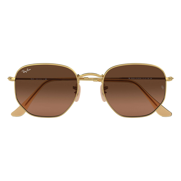 Rayban HEXAGONAL FLAT LENSES Gold - Brown Gradient Sunglasses Specs Appeal Optical Miami Sunglasses