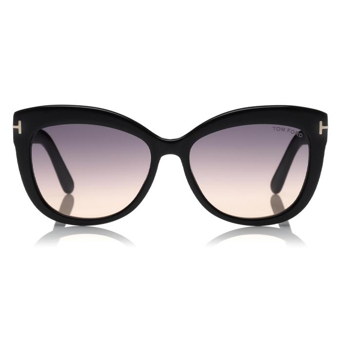 Tom Ford ALISTAIR Shiny Black / Gradient Smoke Lenses Sunglasses Specs Appeal Optical Miami Sunglasses