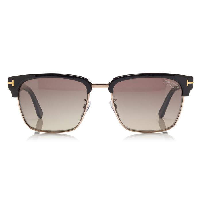 Tom Ford RIVER Shiny Black, Rose Gold Metal - Gradient Grey Polarized Sunglasses Specs Appeal Optical Miami Sunglasses