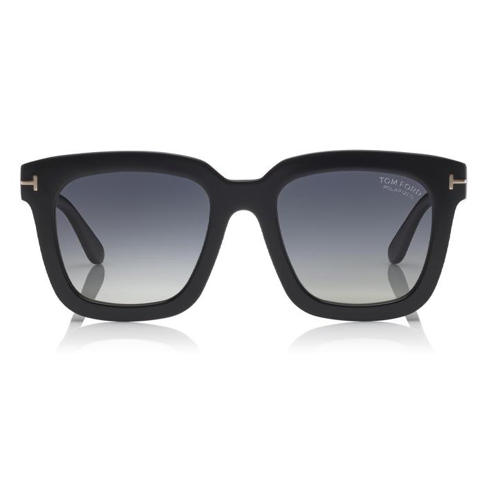 Tom Ford SARI Shiny Black - Gradient Grey Polarized, Silver Mirror Sunglasses Specs Appeal Optical Miami Sunglasses